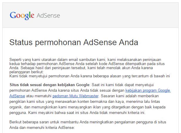 situs tidak sesuai kebijakan google