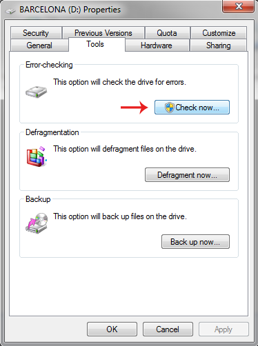 error checking drive