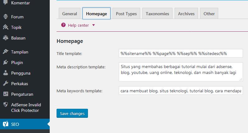 homepage title metas