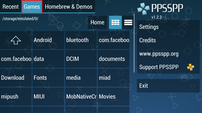 ppsspp games tab