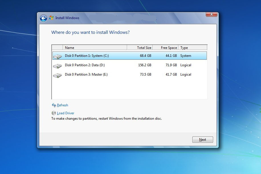 instal ulang windows 7