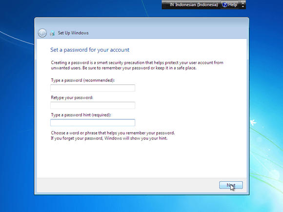 beri password windows 7