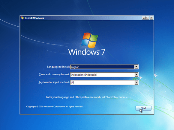 penginstalan windows 7