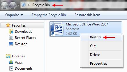 restore recycle bin