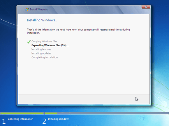 menunggu proses instalasi windows 7