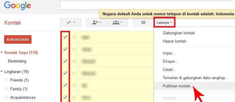 google contacts restore
