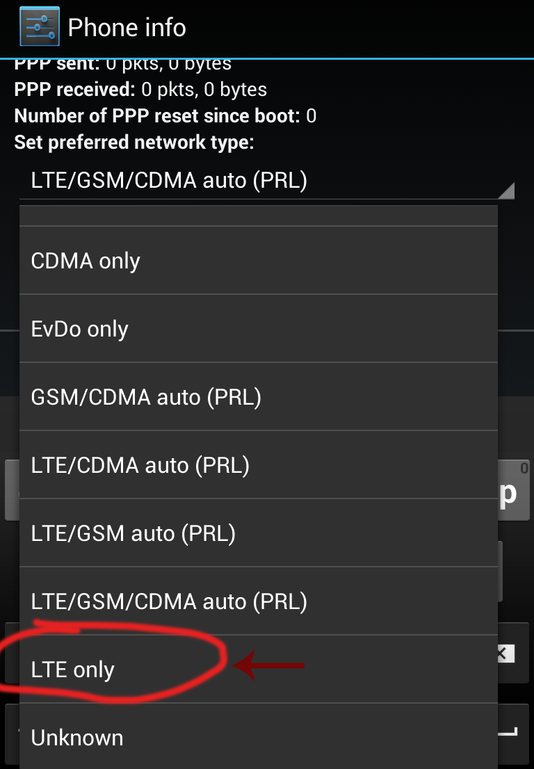 set prefered network type lte only