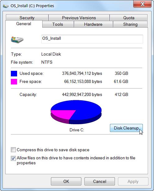 disk cleanup menu