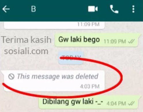 whatsapp message was deleted