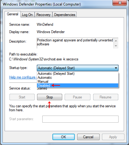 windows defender services menu