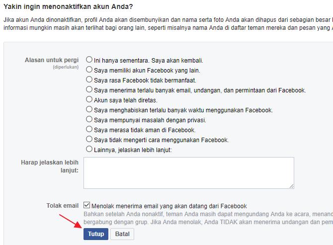 alasan menghapus akun facebook