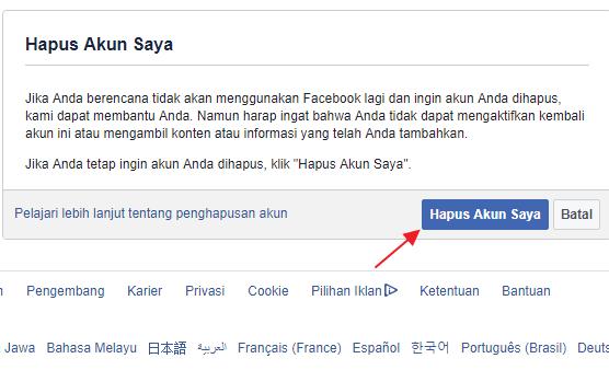 hapus akun facebook permanen