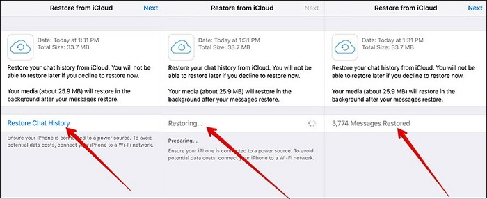 restore whatsapp chat