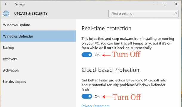 windows 10 defender turn off
