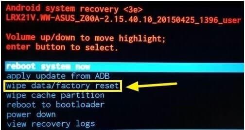 wipe data factory reset