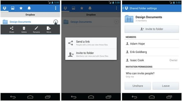 android share dropbox