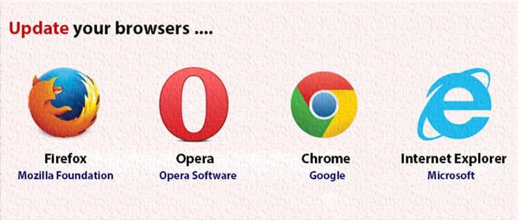 العمل عن بعد, جوجل كروم, اوبرا, متصفح اوبرا, فاير فوكس, تحديث المتصفح, update your browsers
