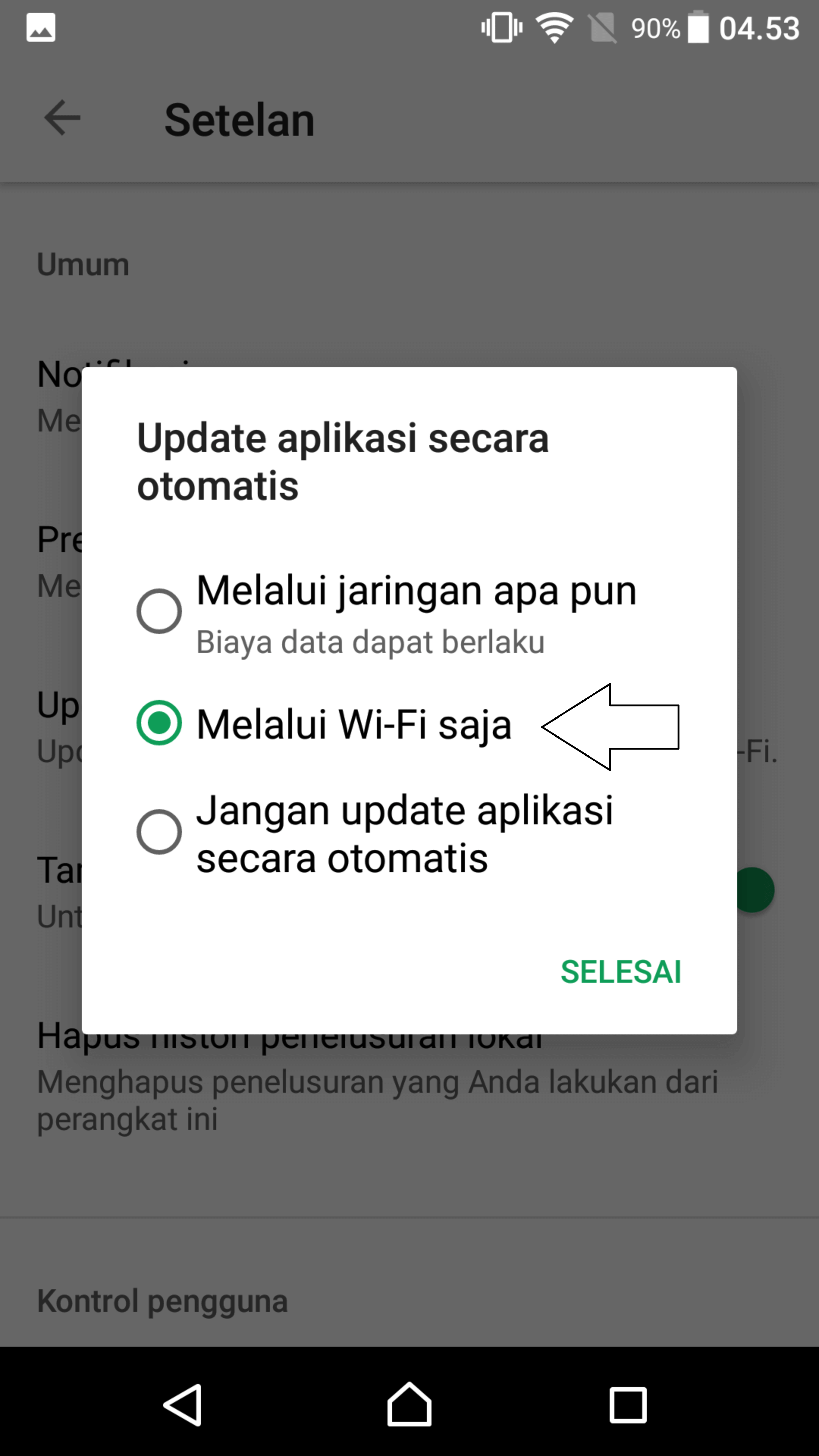 update only wifi