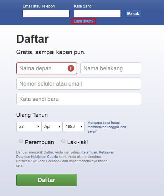 facebook lupa akun