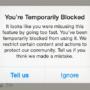 tindakan diblokir di instagram