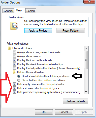 folder option setting