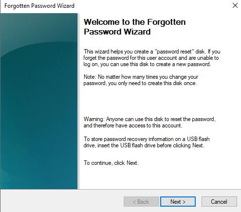 wizard setup forgotten password - cara membuat password reset disk windows 8