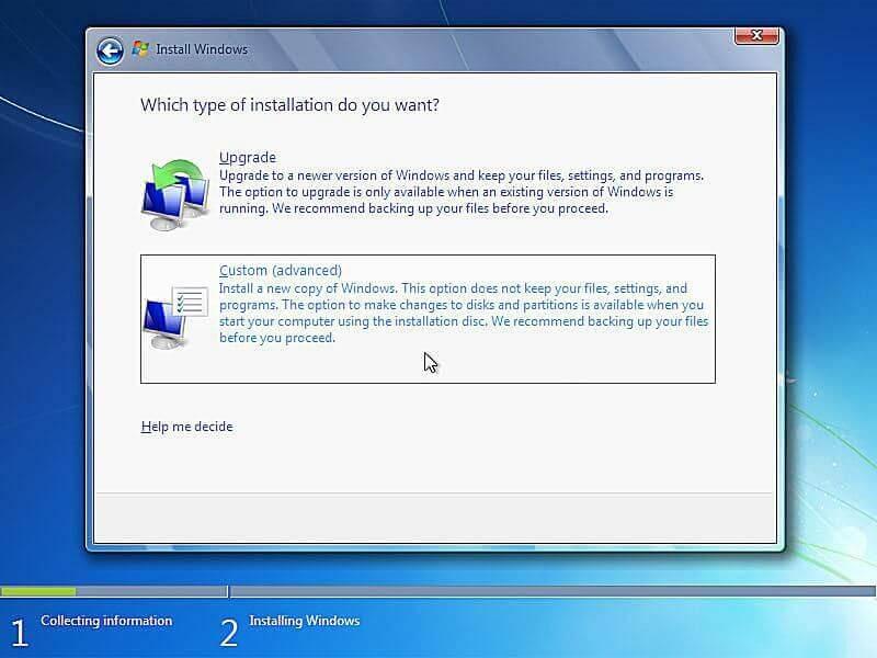 custom advanced windows 7 installing