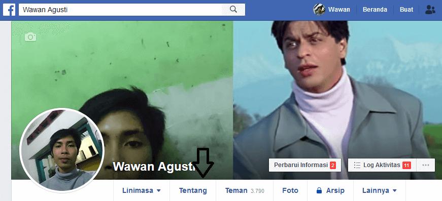 menu tentang facebook