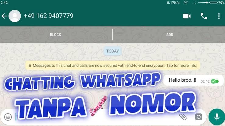 cara chat whatsapp tanpa save nomor