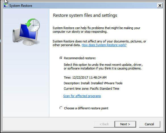 safe mode system restore
