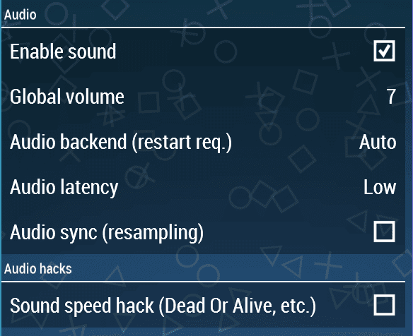 audio setting psp