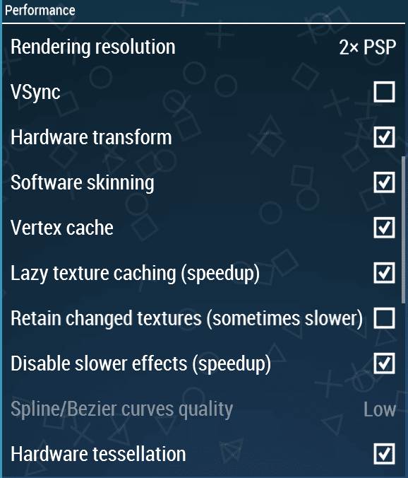 performance setting psp