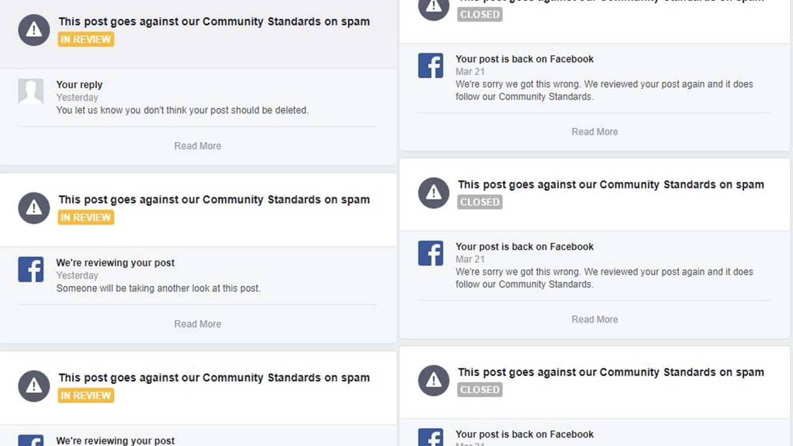 spam posting facebook