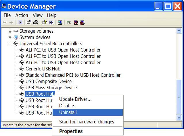 Overcome USB HP Android and iOS unreadable by uninstalling USB drivers
