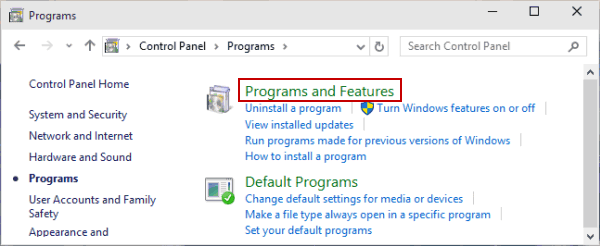 control panel program and features