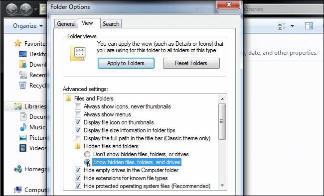 control panel show hidden folder
