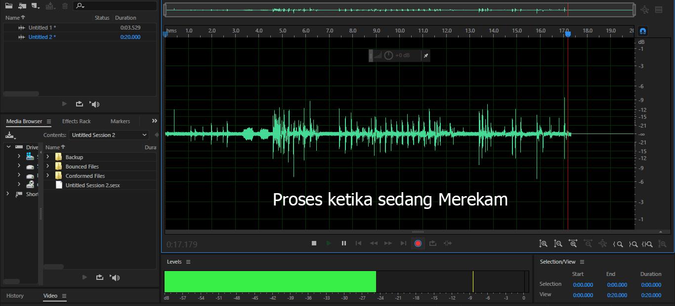 cara merekam suara di adobe audition proses perekaman