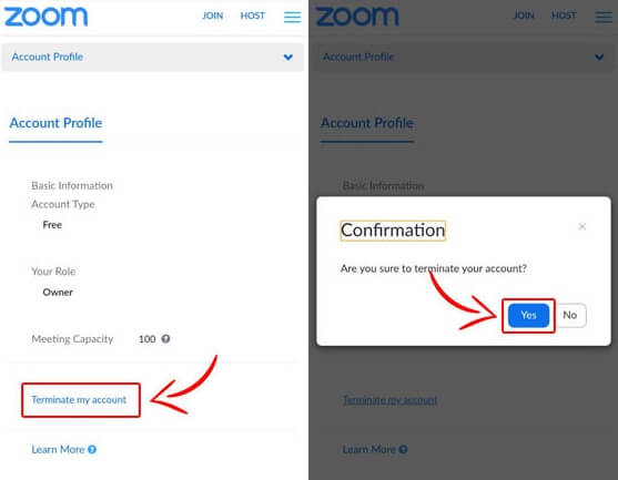 terminate zoom account