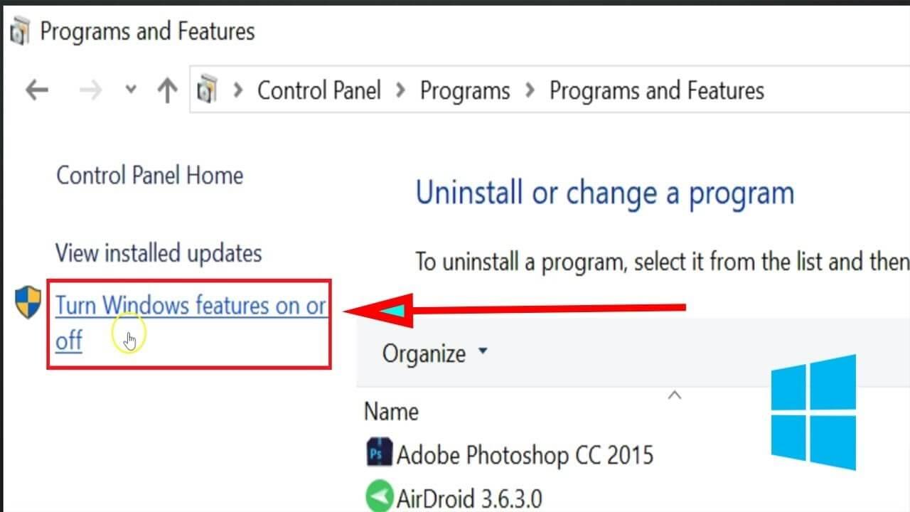 cara menjalankan aplikasi 64 bit di 32 bit Turn windows feature On or OFF