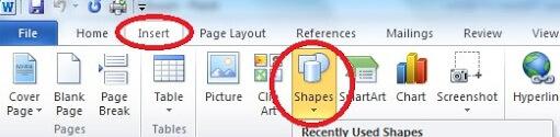ms word insert shape
