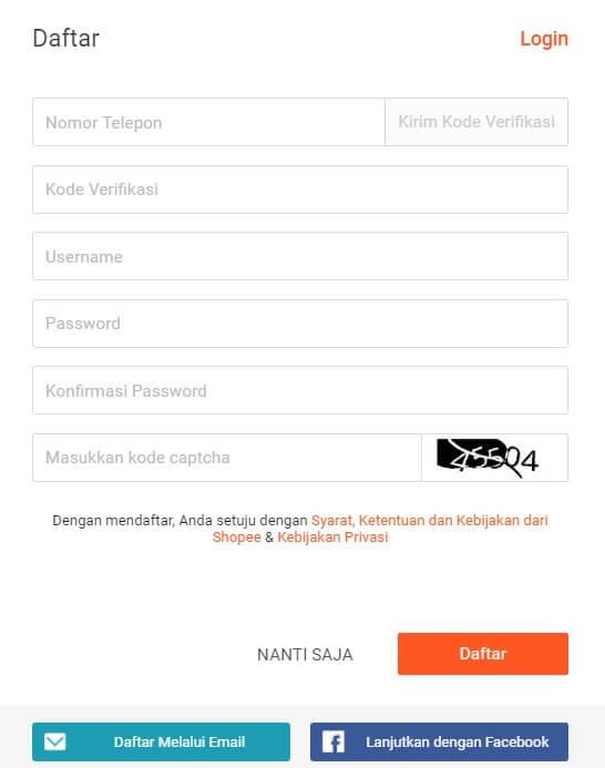 form pendaftaran shopee cara membuka toko online di shopee