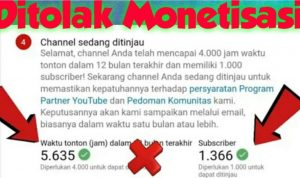 penyebab channel youtube ditolak monetisasi