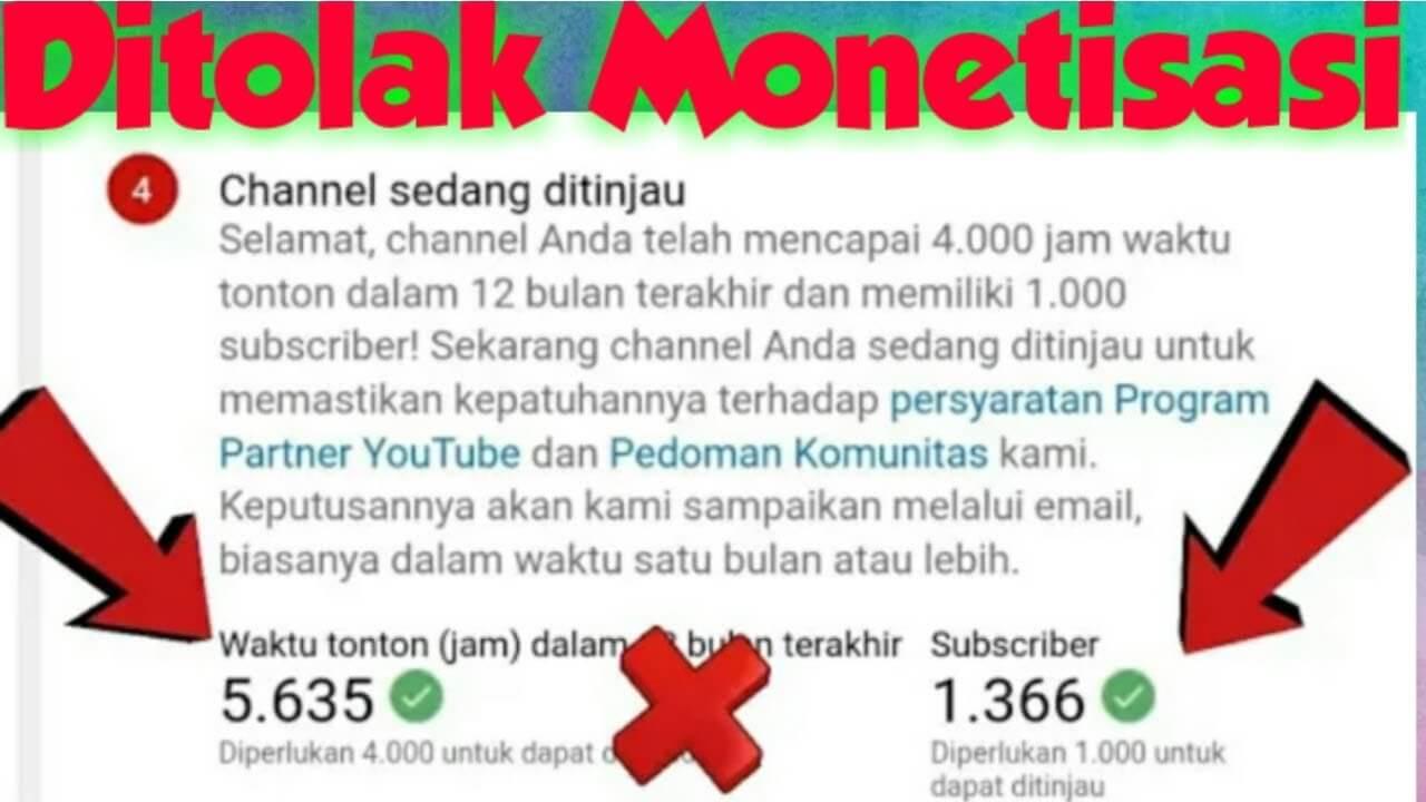 penyebab channel youtube ditolak monetisasi
