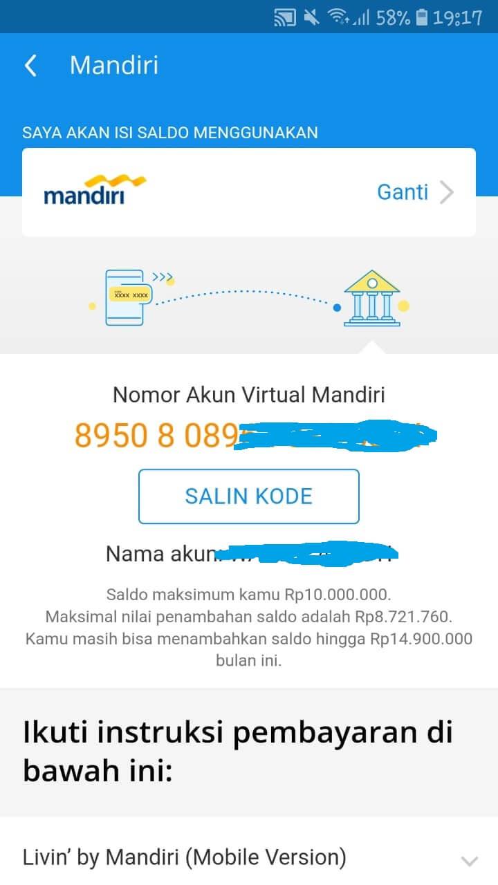 VA Dana Bank Mandiri