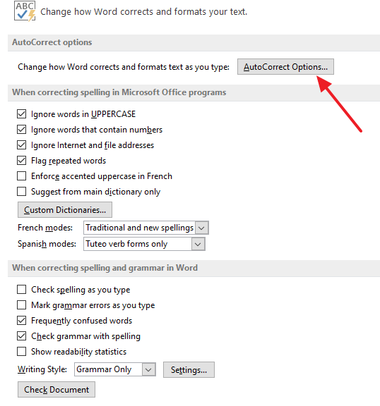 autocorrect options