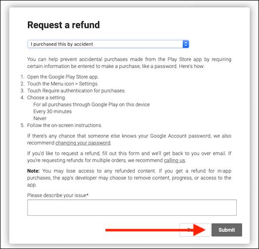 request a refund google play